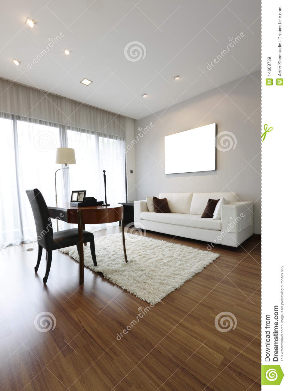 Modern Study Room Stock Photo Image Of Curtains Wooden