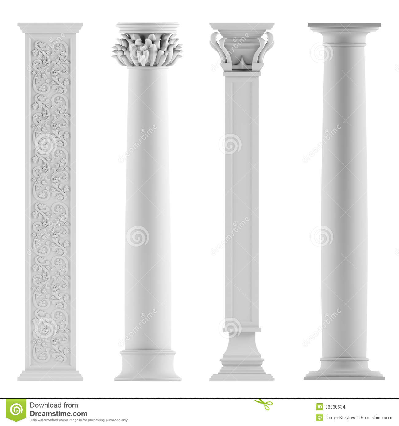 Modern style architectural classic columns stock Modern house columns