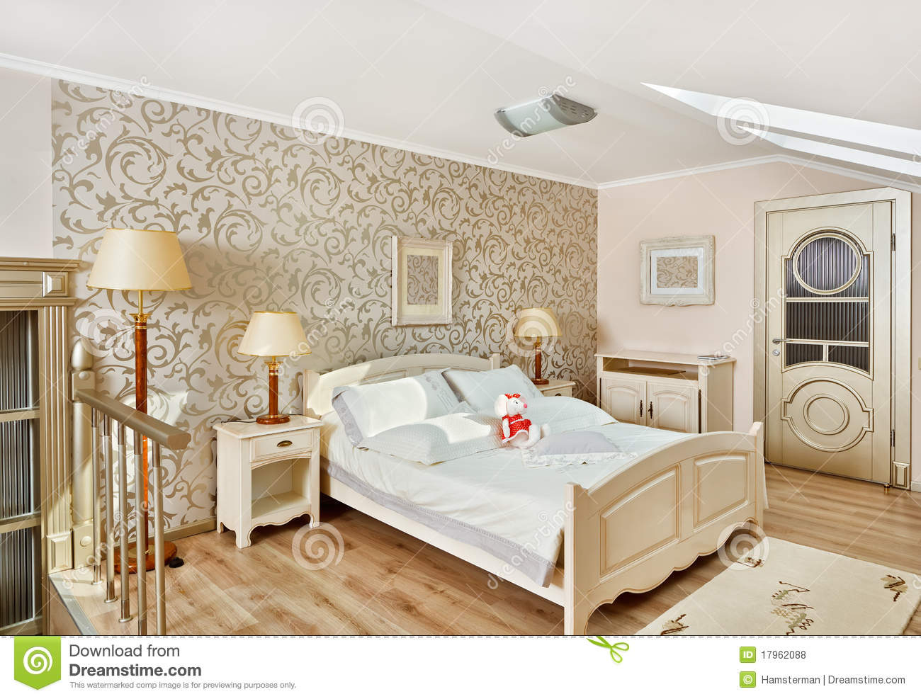 bedroom modern style modern style bedroom in beigeon loft room stock photo 10574