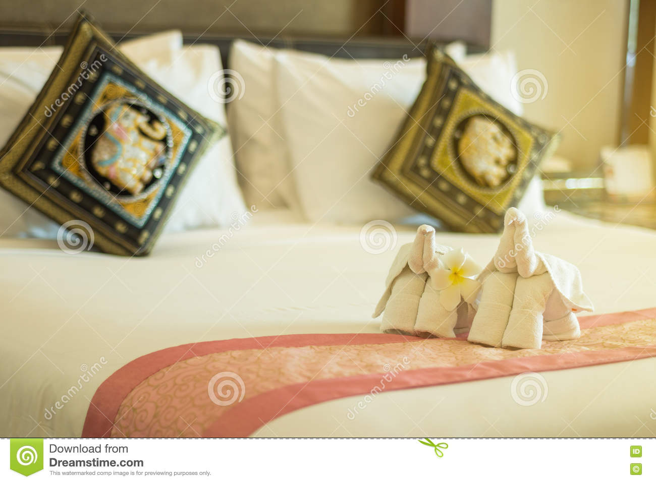 Modern Style Of Bedroom With Folded Towel In Elephant Shape On Bed Stock Photo Image Of Modern Resort 74705900