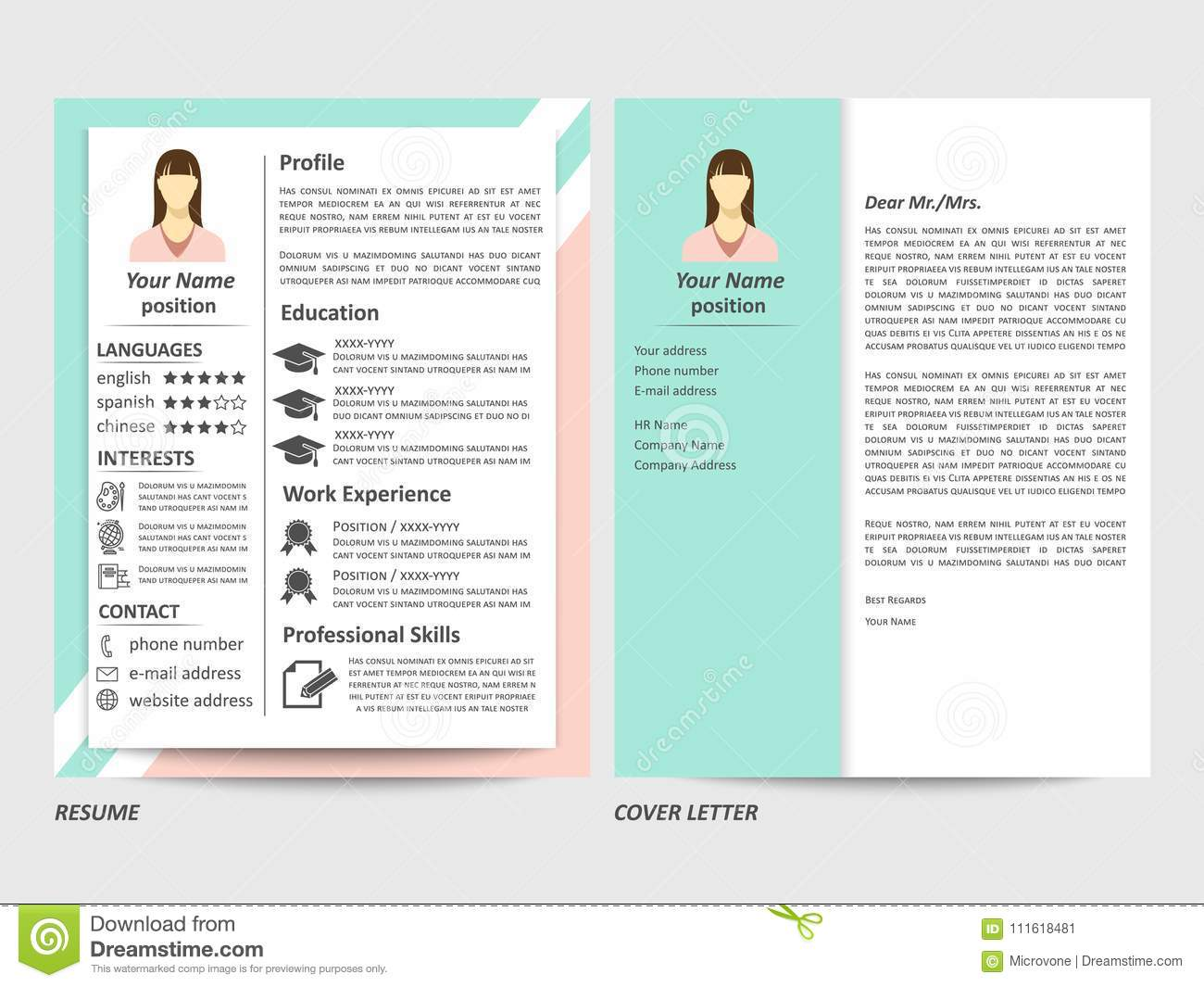 Modern Style Female Resume And Cover Letter Template Vector Illustration