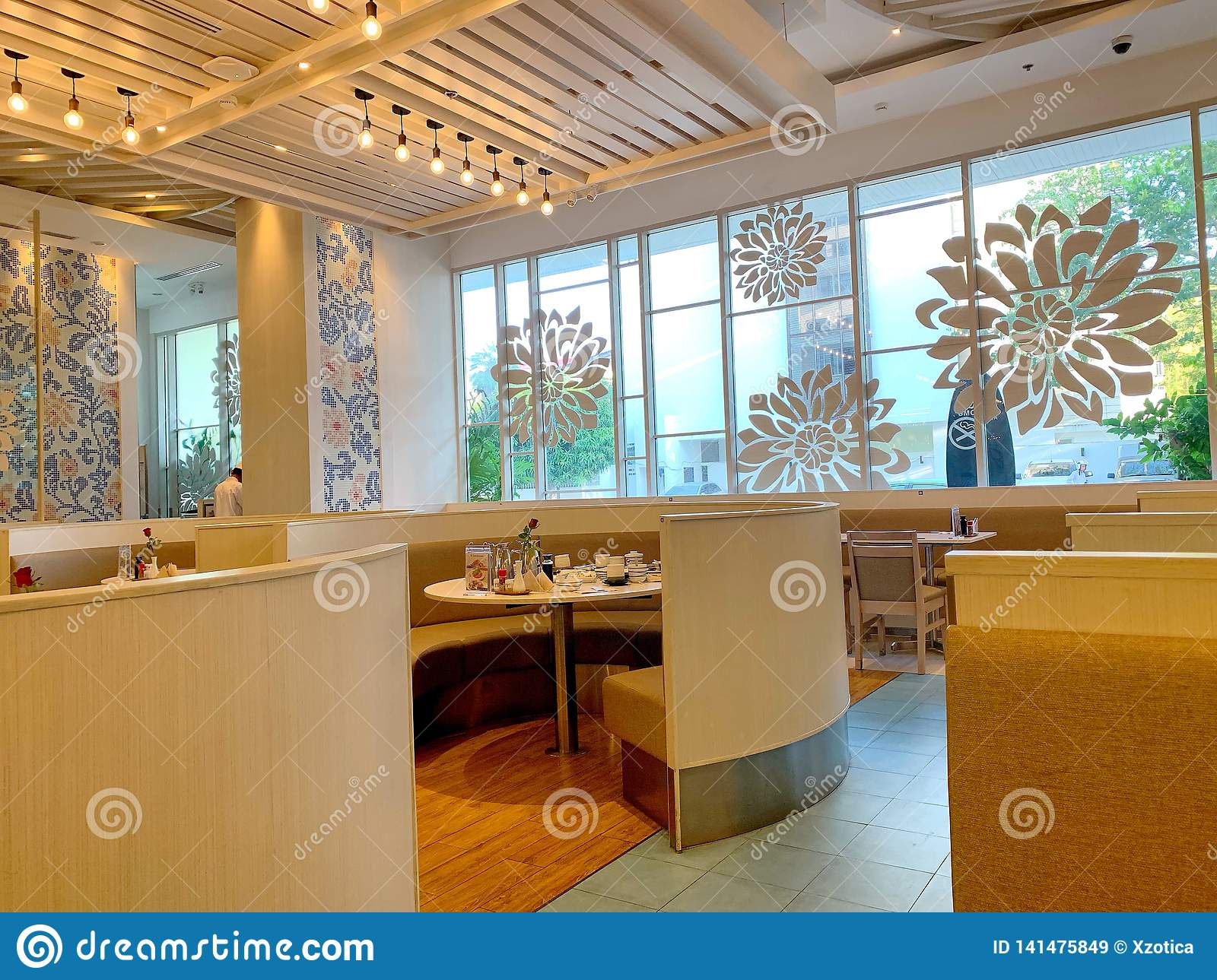Modern Style Of Interior Design Of Fuji Japanese Restaurant With Circle Chair And Table In Blueport Shopping Mall Hua Hin Editorial Stock Image Image Of Lunch Circle 141475849