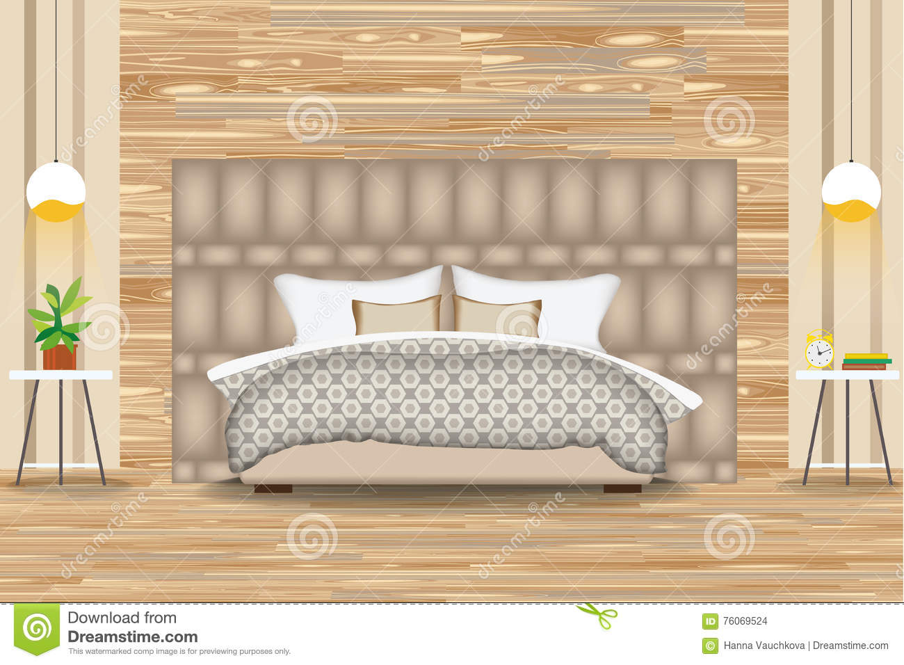 Side Design El | Modern Style Interior Design Vector Illustration Bed In Front Of