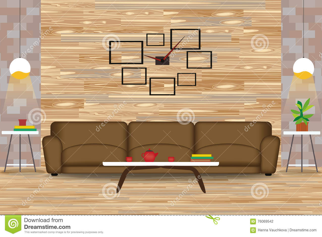 Modern style interior design vector illustration sofa in front of wood wall side tables