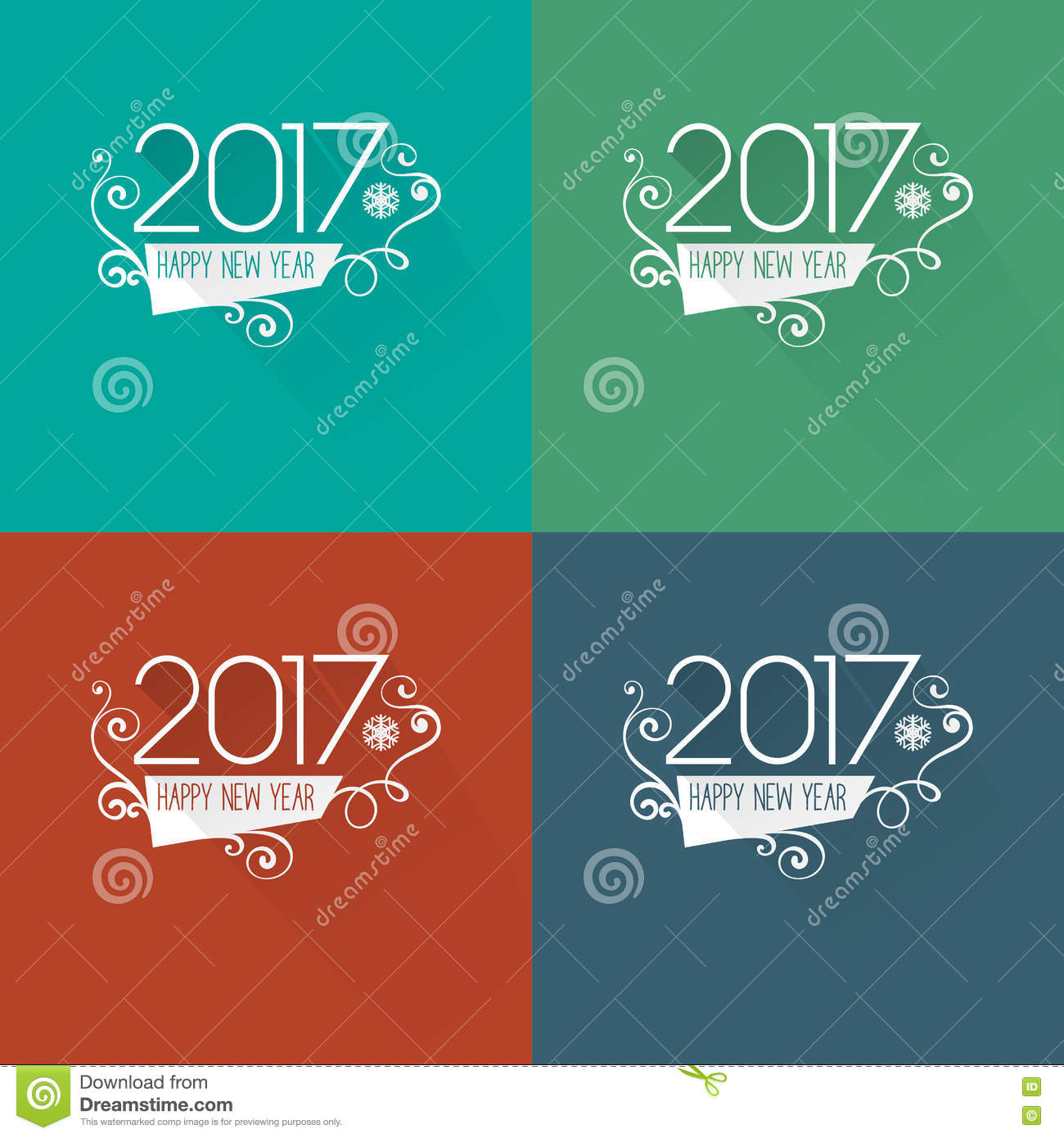 Modern Style 2017 New Year Greetings Card Stock Vector