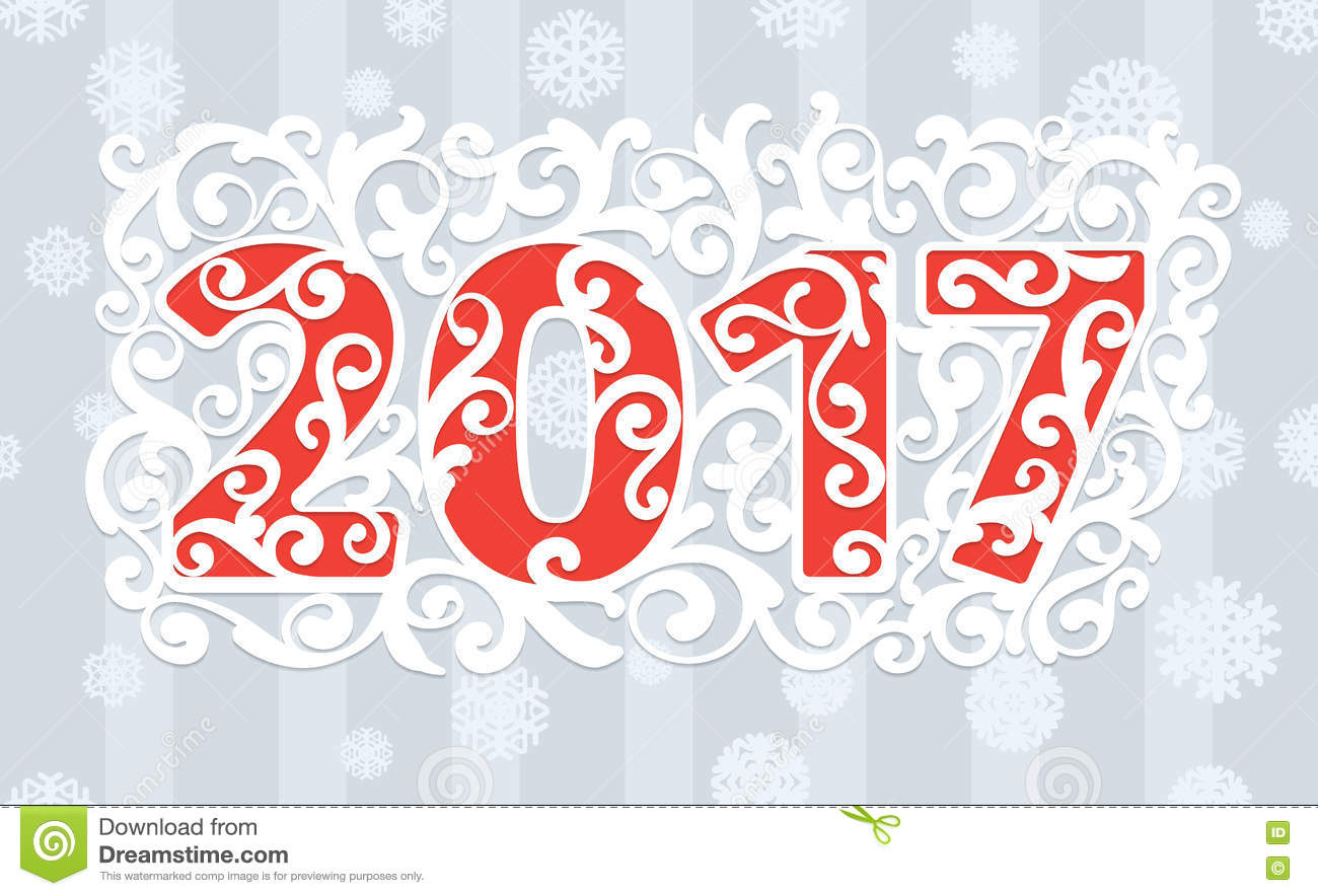 Modern Style Red Gray White Color Scheme New Year Greetings Card ...