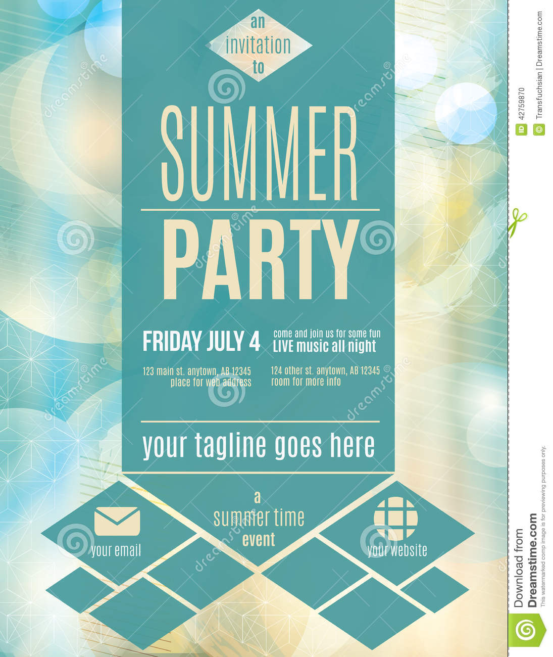 Download Modern Style Summer Party Flyer Template Stock Vector