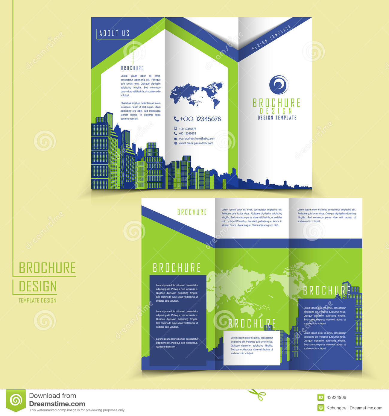 Modern style tri fold brochure template for business stock for Foldable booklet template