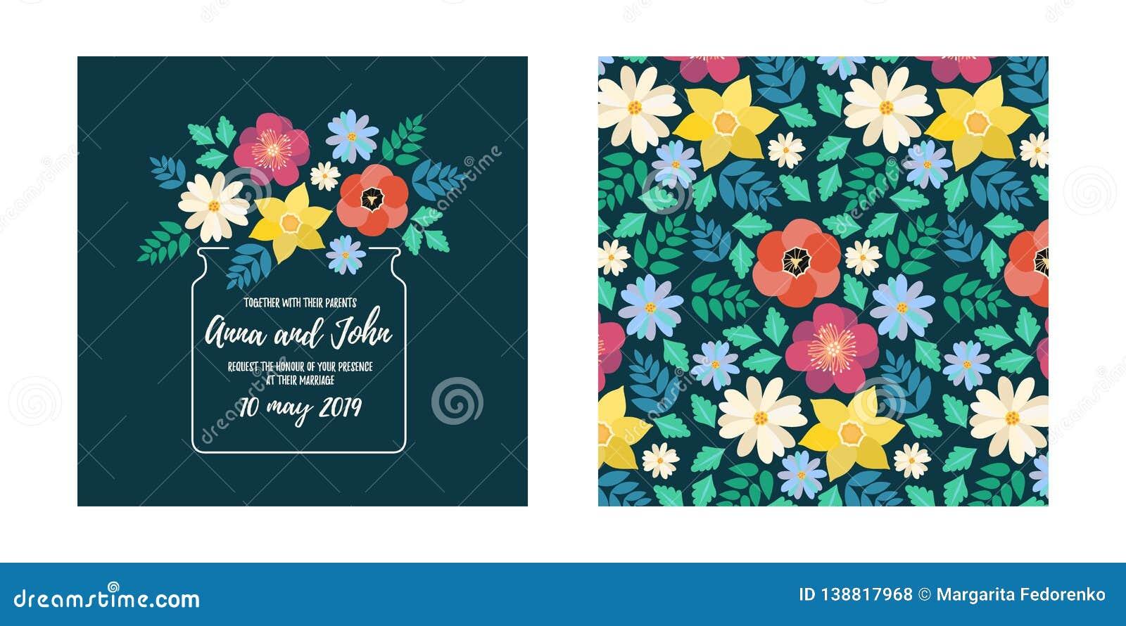 Modern Style Wedding Invitation Card With Flat Flower