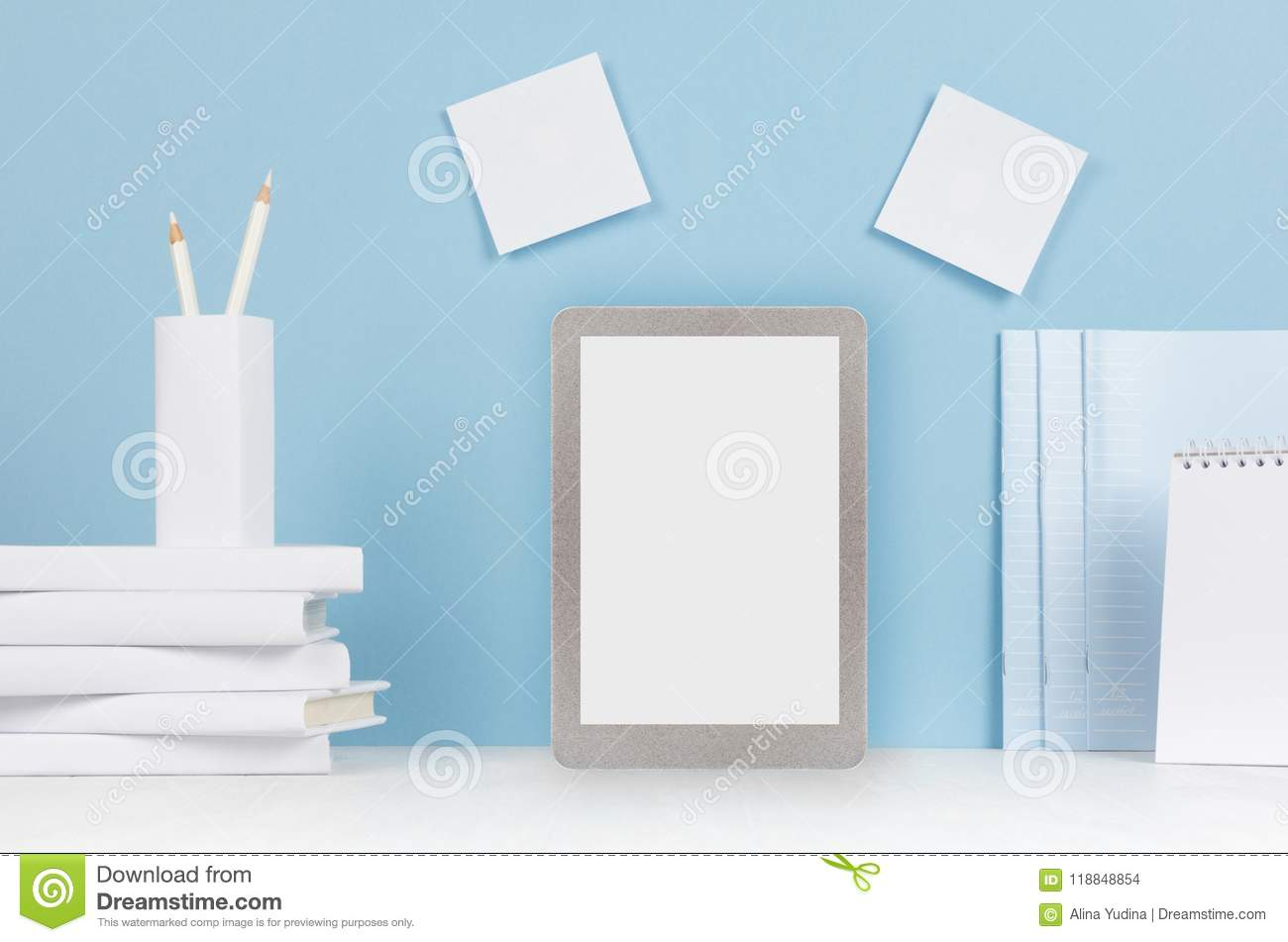 modern style workplace white stationery blank tablet computer on