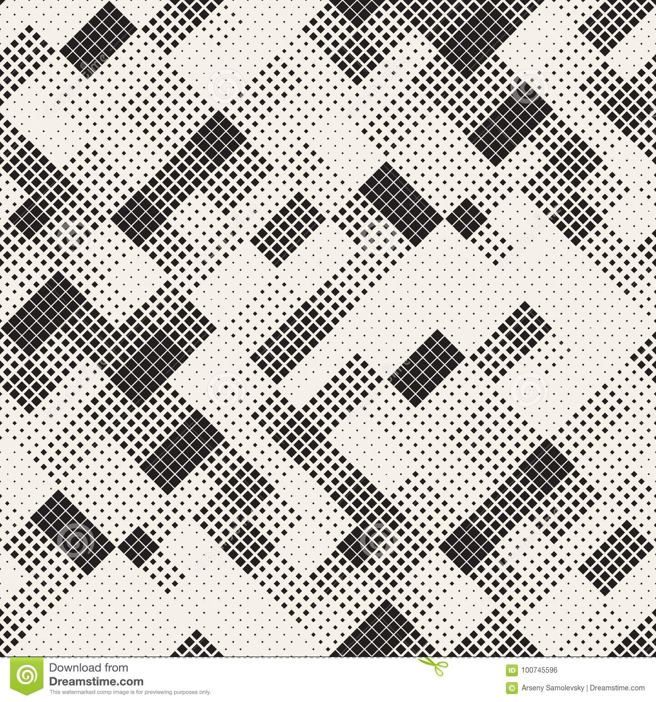 Modern Stylish Halftone Texture. Endless Abstract Background With Random Size Squares. Vector Seamless Chaotic Squares