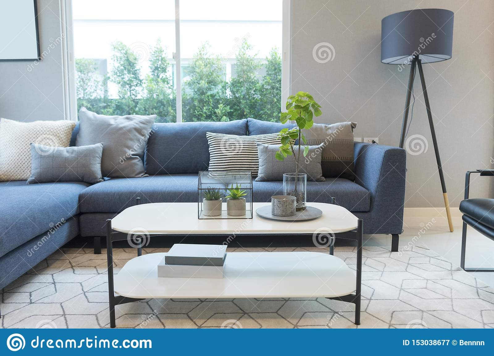 Modern And Stylish Living Room Blue Sofa And Grey Pillow With Coffee Table Stock Image Image Of Estate Elegant 153038677