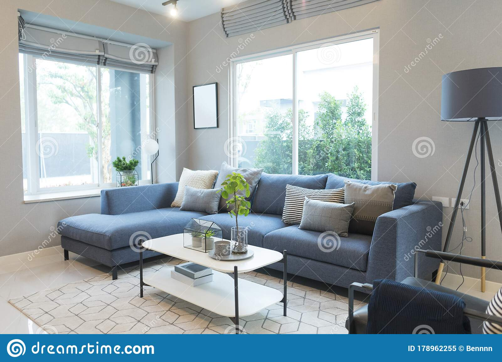 Modern Living Room Blue Sofa And Grey Pillow With Coffee Table And Floor Lamp Stock Image Image Of Loft Interior 178962255