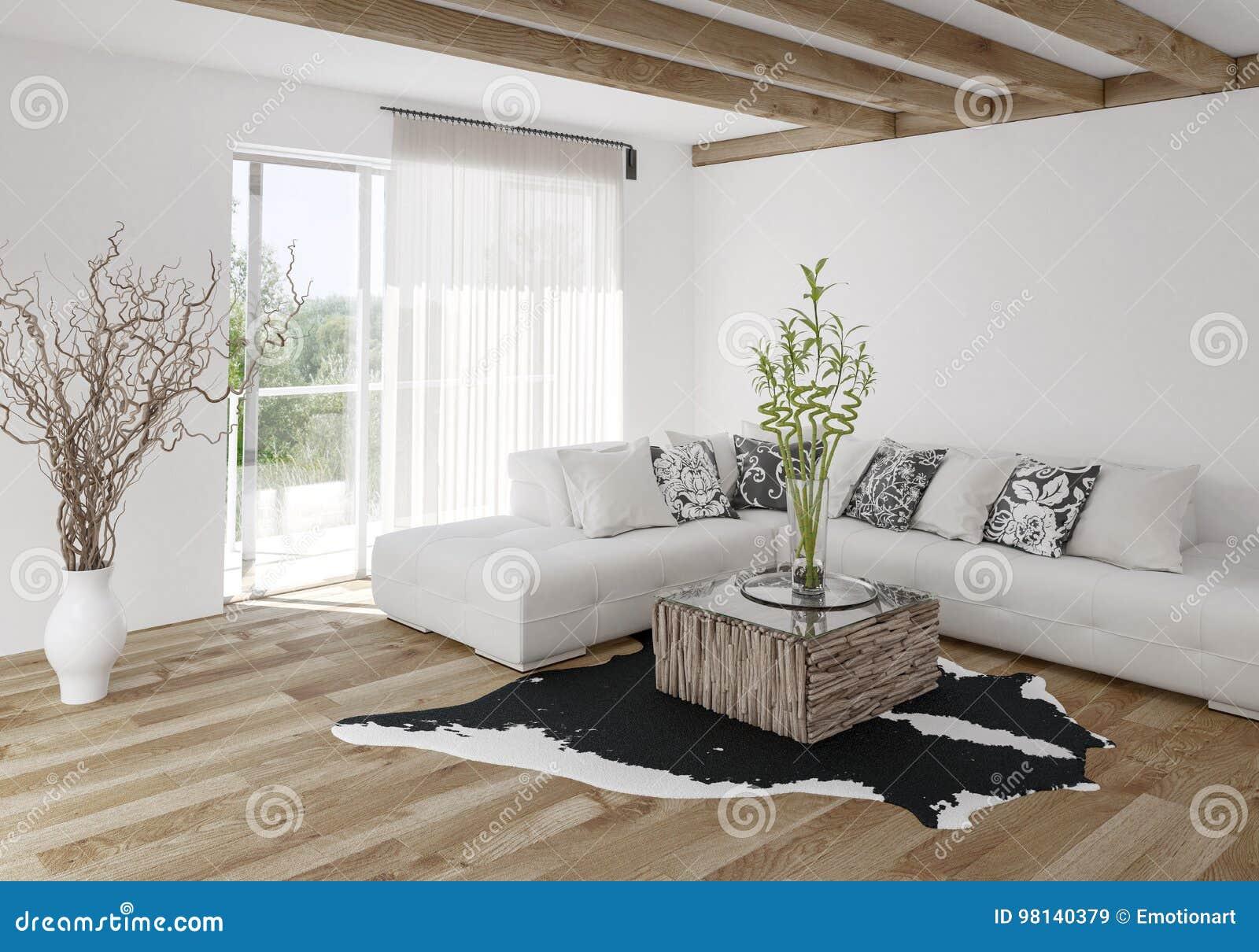 Modern Stylish Living Room With Wood Beams Stock ...