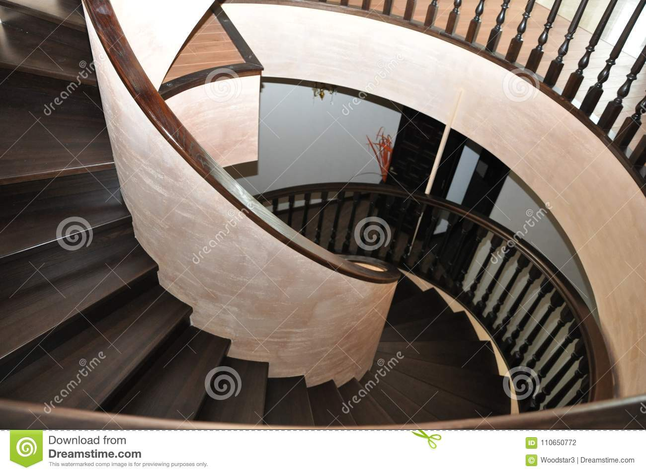 Download Modern Stylish Spiral Staircase In A Chic House. Original Author`s  Work.