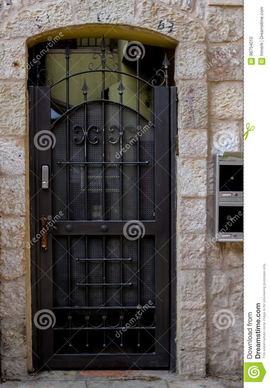 modern metal gate. Download Modern Stylized Metal Gate With Grating And Peaks Stock Photo -  Image Of Building, Modern Metal Gate