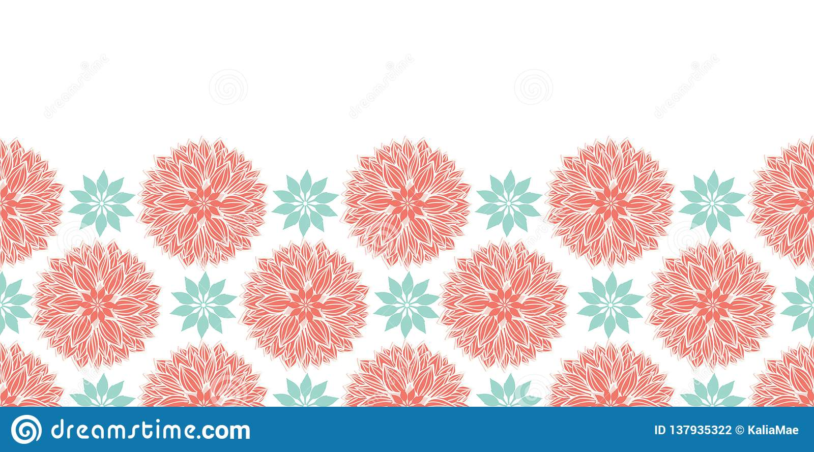 Modern stylized waterlily or dahlia flowers mandalas horizontal border design in peach and blue . Vector template