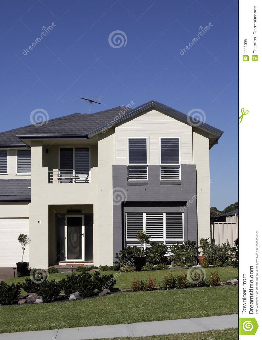 Modern Suburban House stock image. Image of sunshine ...
