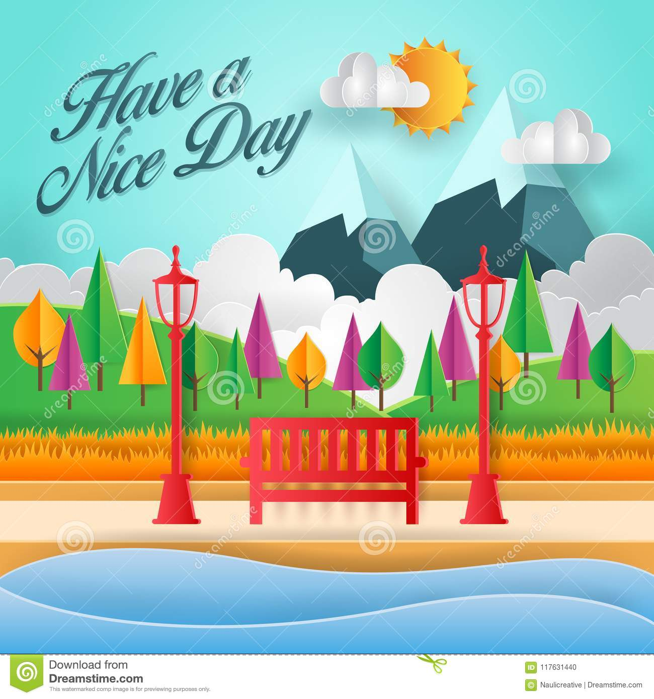 Modern summer have a nice day paper art card illustration stock modern summer have a nice day paper art card illustration m4hsunfo