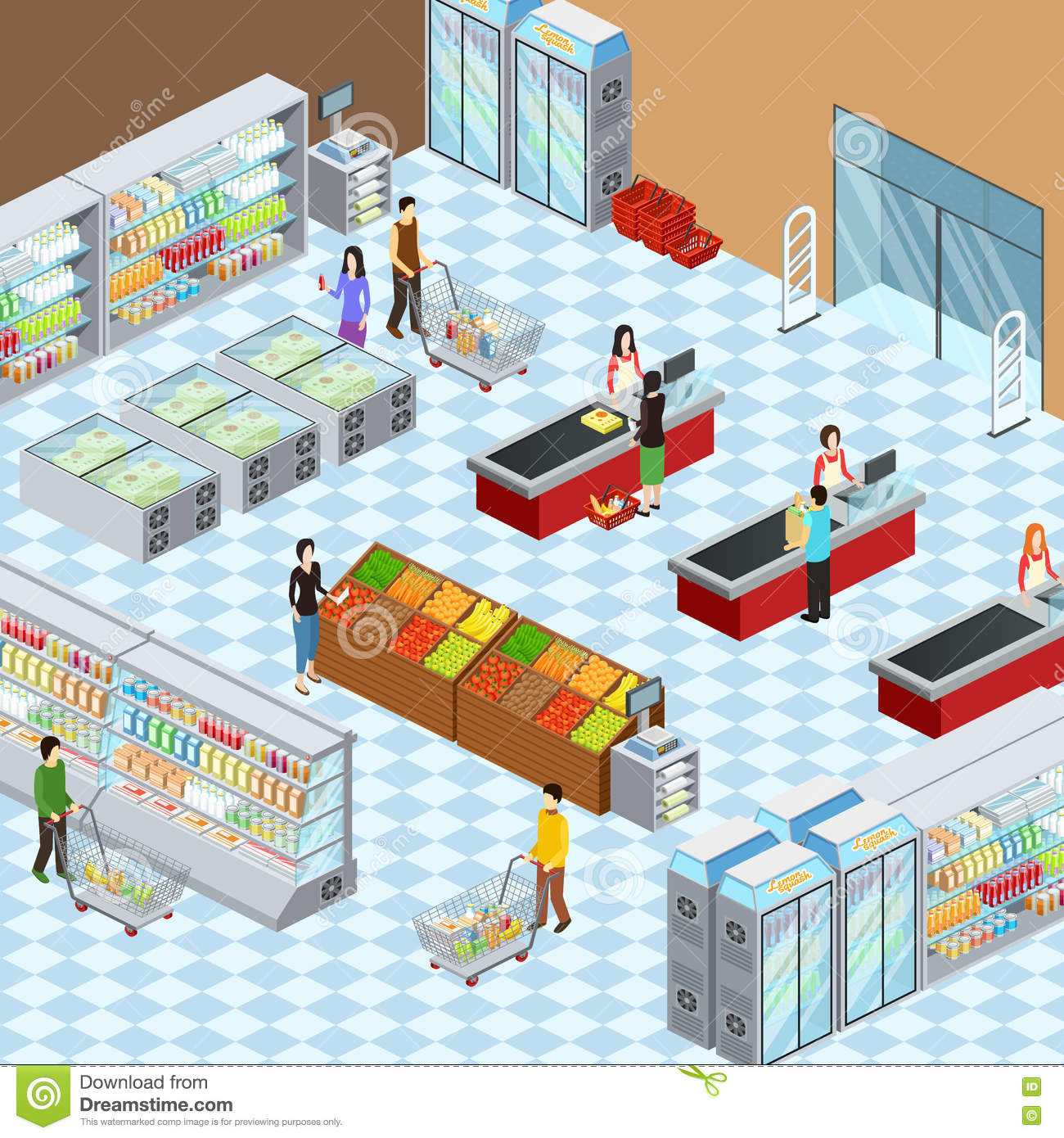 Modern supermarket interior isometric composition poster for Store layout design free