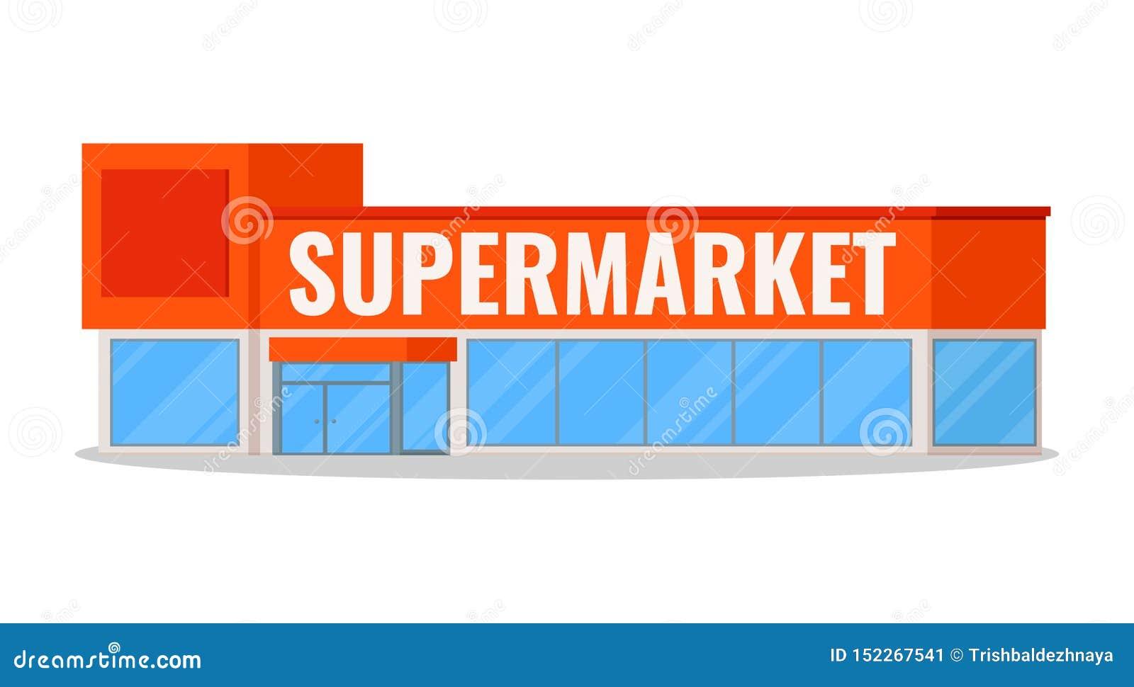 Modern supermarkt de bouwpictogram met plaats voor uw die embleem op witte achtergrond met schaduw wordt geïsoleerd, de Vlakke ve
