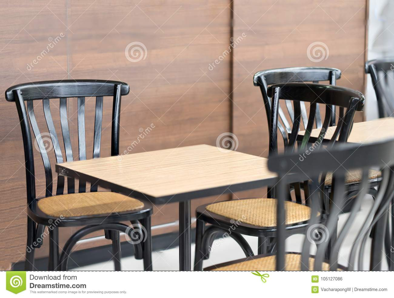Modern Tables And Chairs In Coffee Shop Or Bekery Store Stock Photo Image Of Restaurant Exterior 105127086