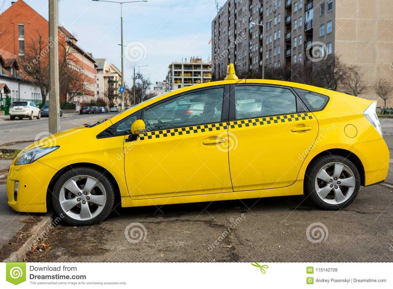 Modern Taxi Cab In Yellow Color Stock Image - Image of signs