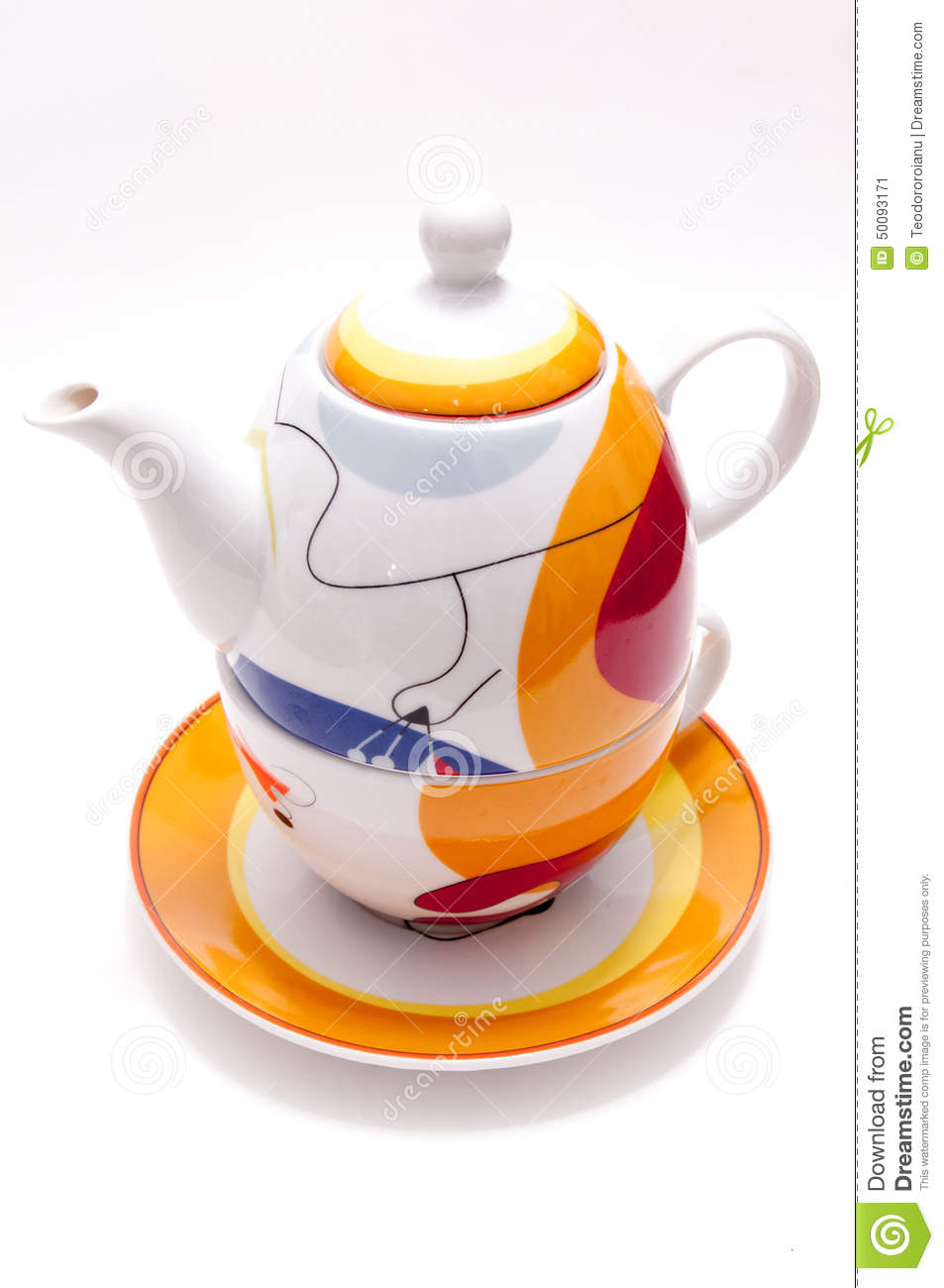 modern tea set stock photo  image  - drawings isolated modern set tea