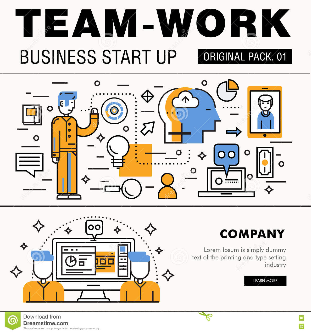 Modern Team Work Pack. Thin Line Icons Business Works. Stock ...