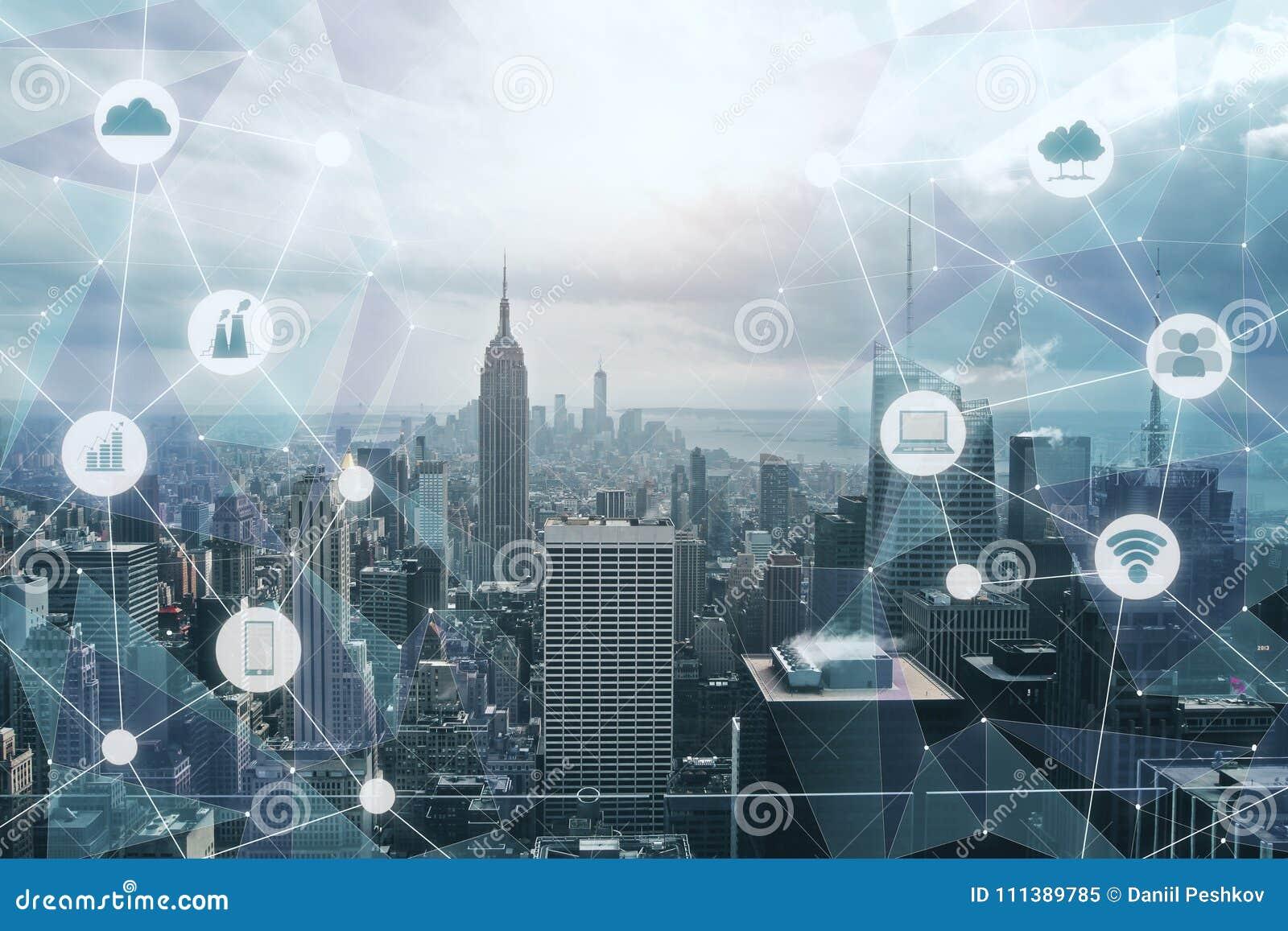 Modern tech city backdrop