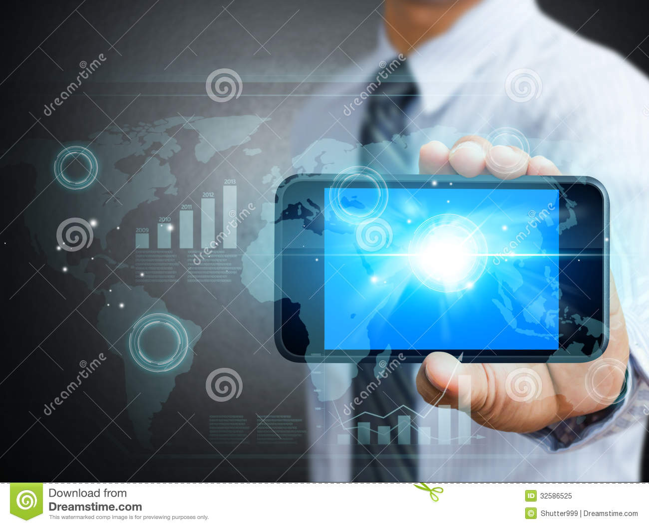 Mobile Technology: Modern Technology Mobile Phone In A Hand Royalty Free