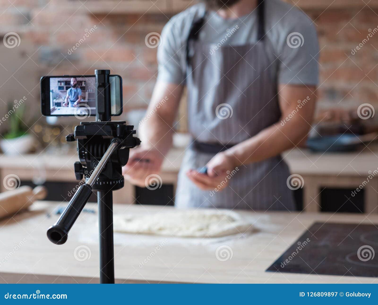 Technology video shoot phone camera food blogger