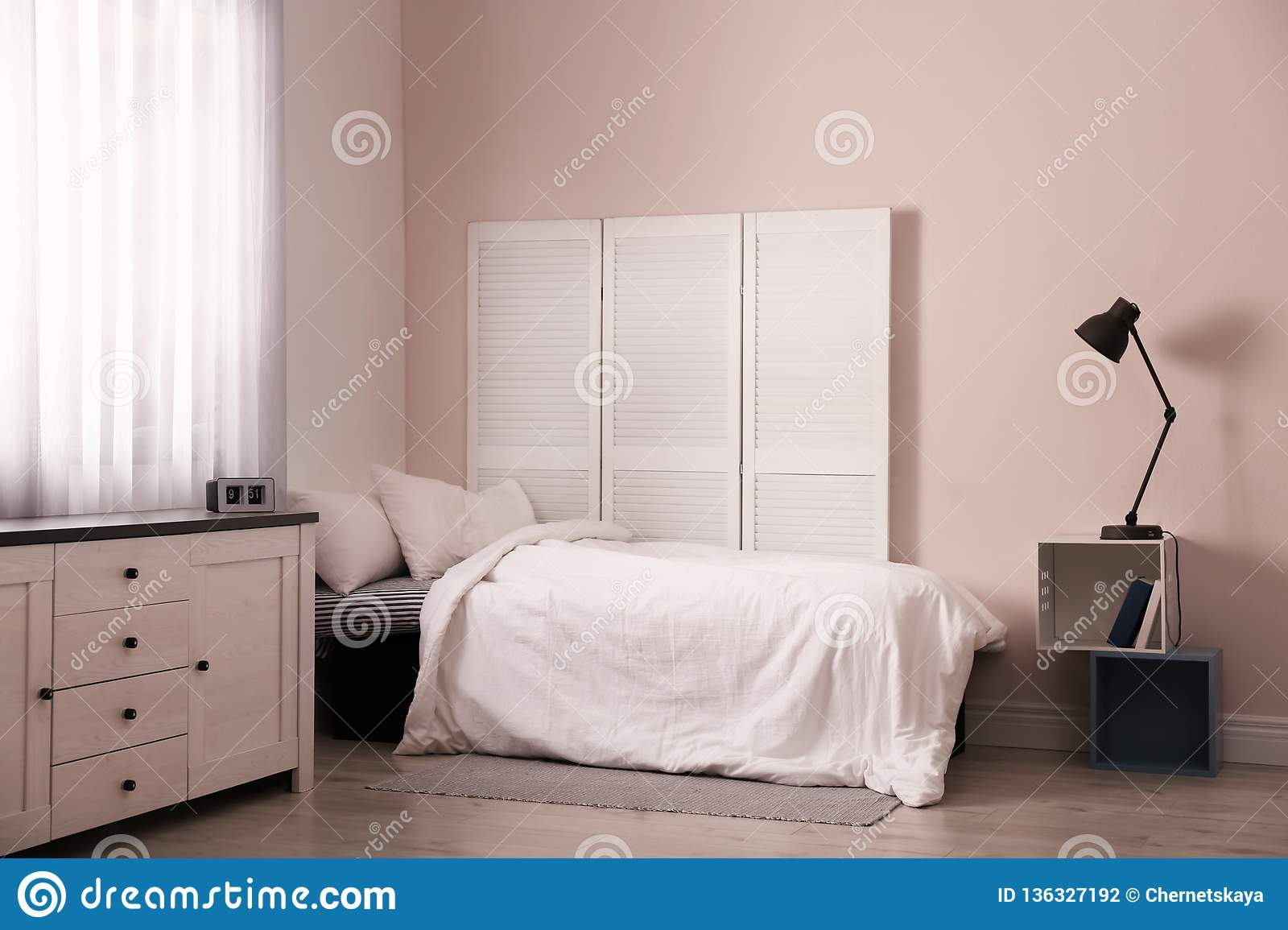 Modern Teen Room Interior With Bed Stock Photo - Image of ...