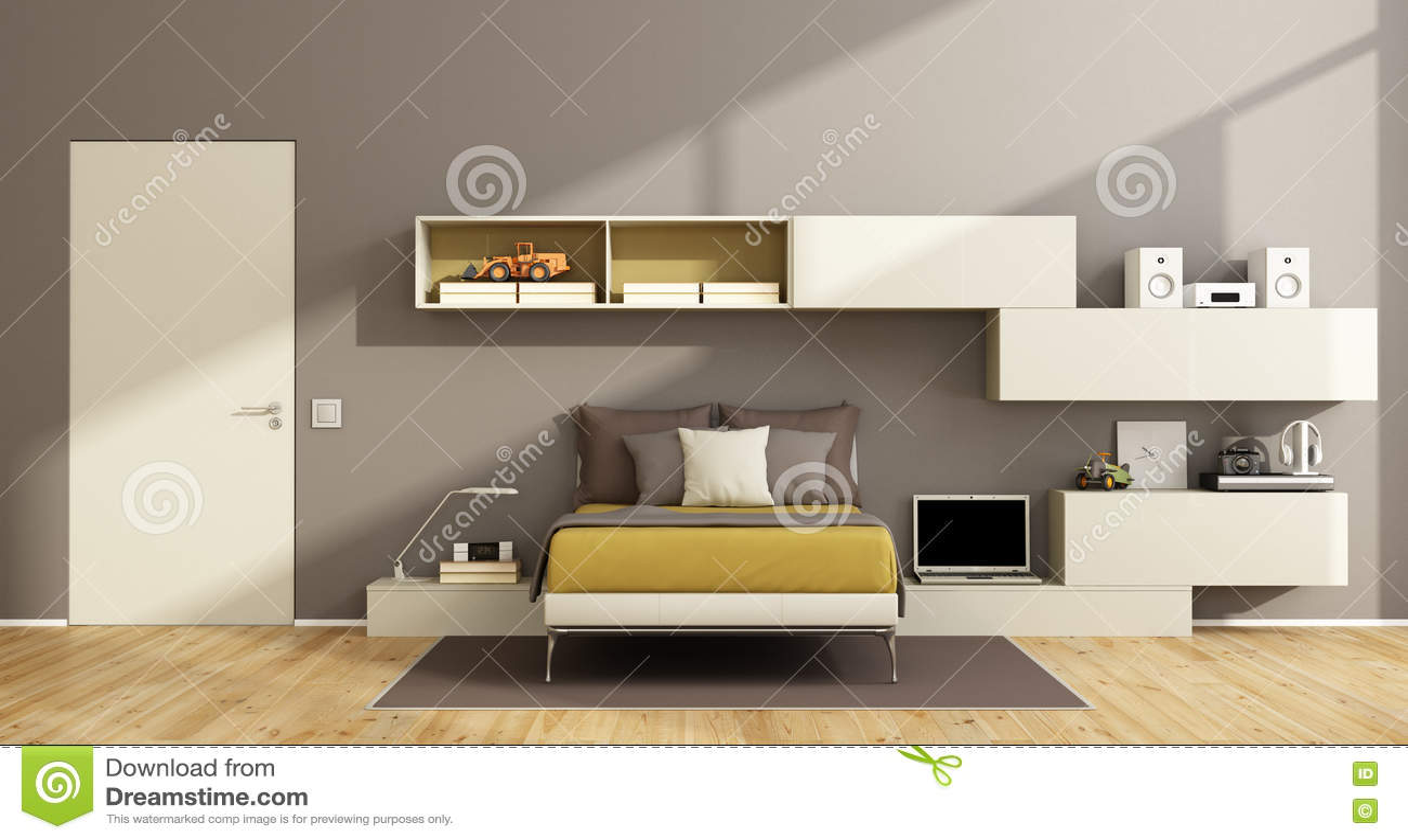 Modern teenage boy bedroom stock illustration. Illustration ...
