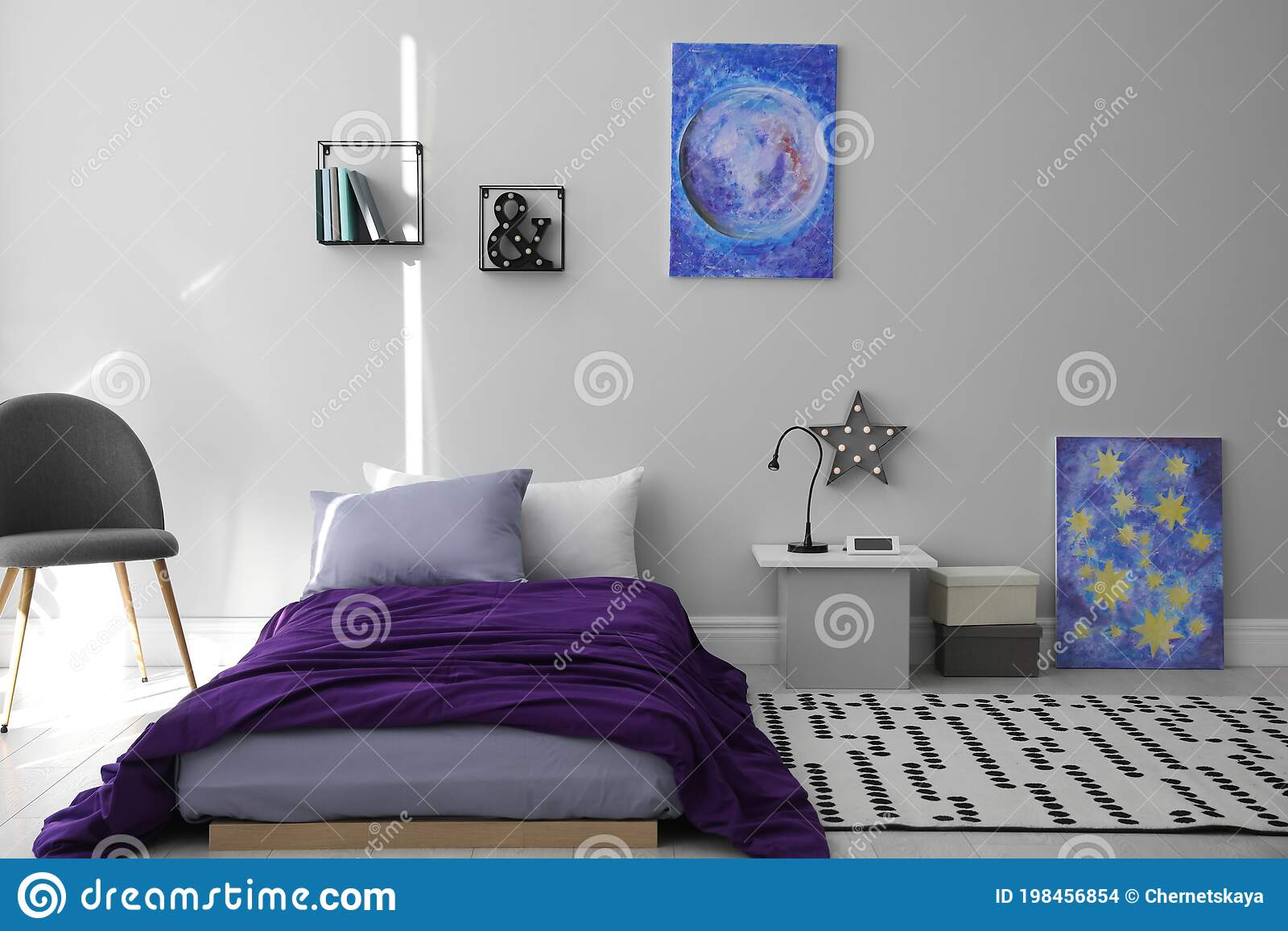 Modern Teenager S Room Interior With Bed And Stylish Design Elements Stock Photo Image Of Indoors Child 198456854