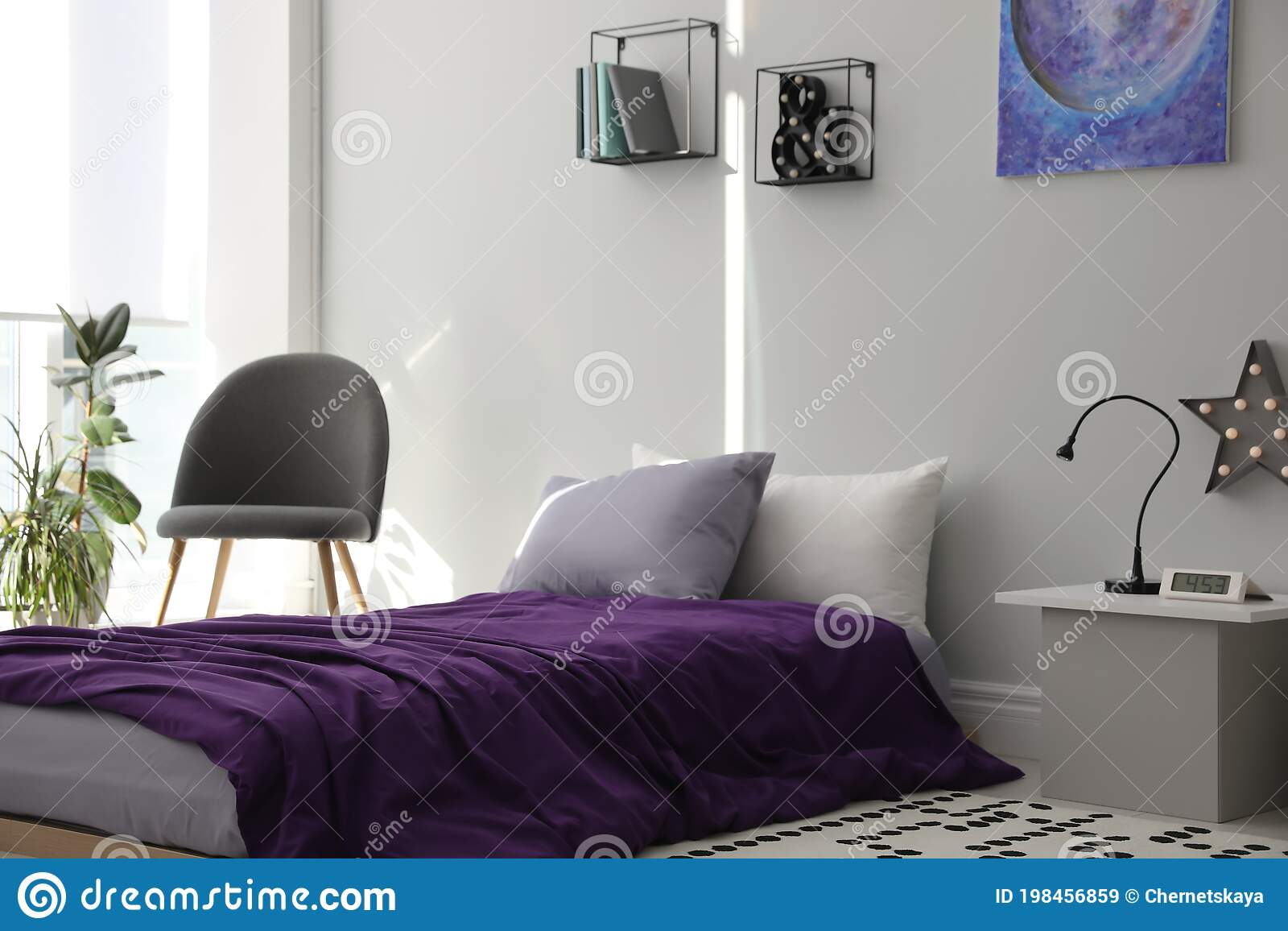 Modern Teenager S Room Interior With Bed And Stylish Design Elements Stock Image Image Of Decoration Background 198456859