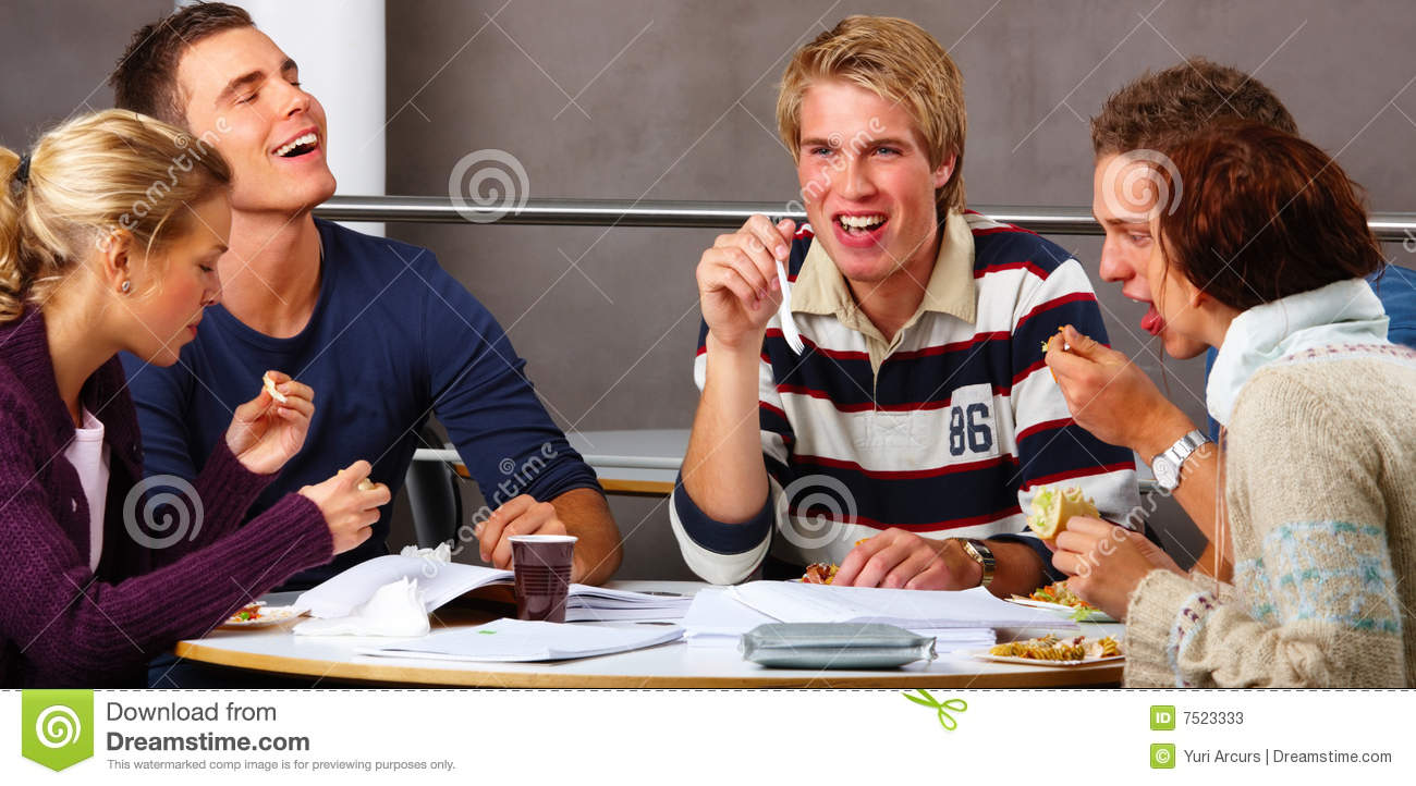 modern teenagers students eating their lunch stock image