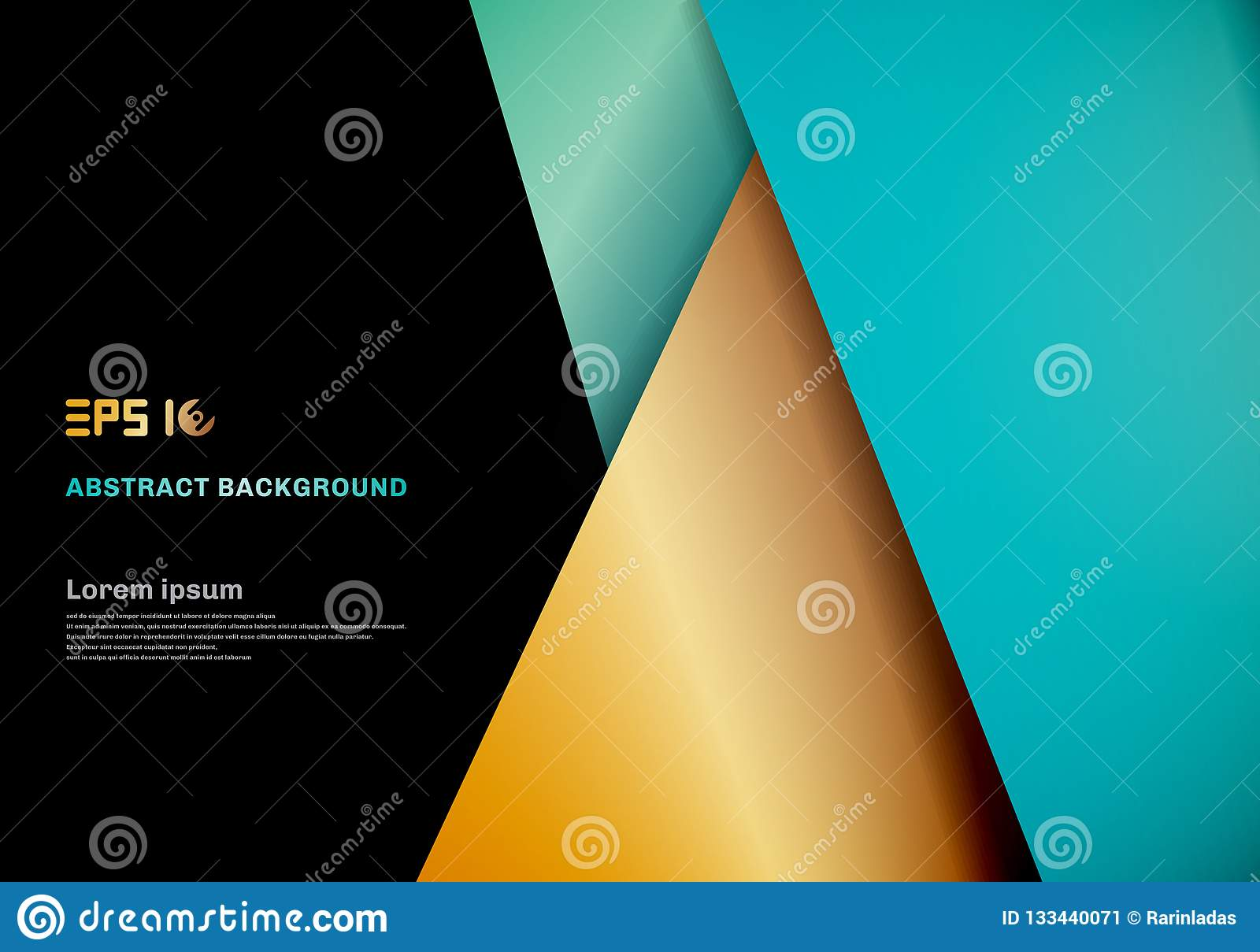 Modern template blue , gold color geometric overlap layer on black space for background design.