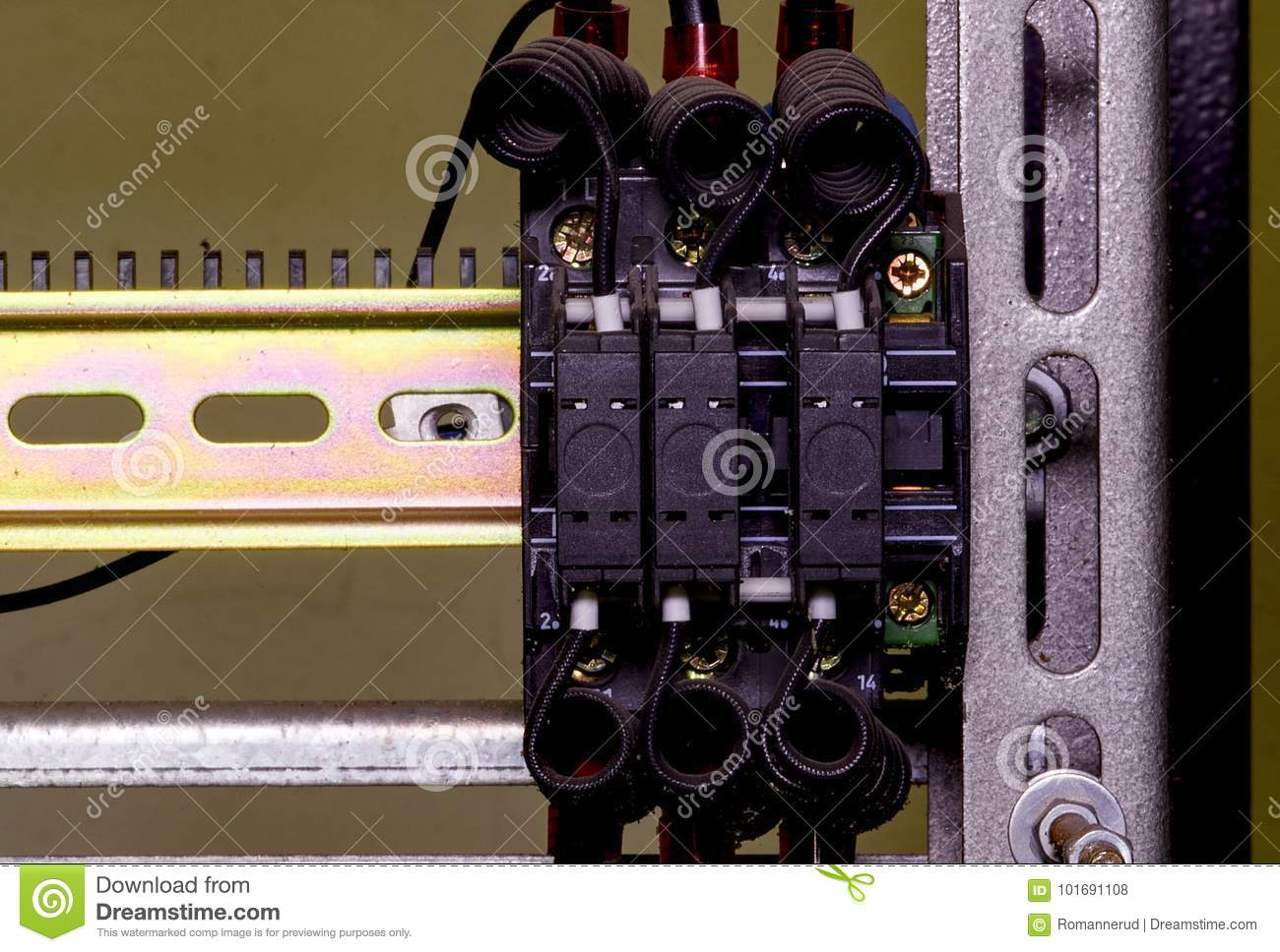 Modern Terminal Blocks With Black Colored Wires Closeup Stock Photo Block Wiring Diagram Download Image Of Circuit