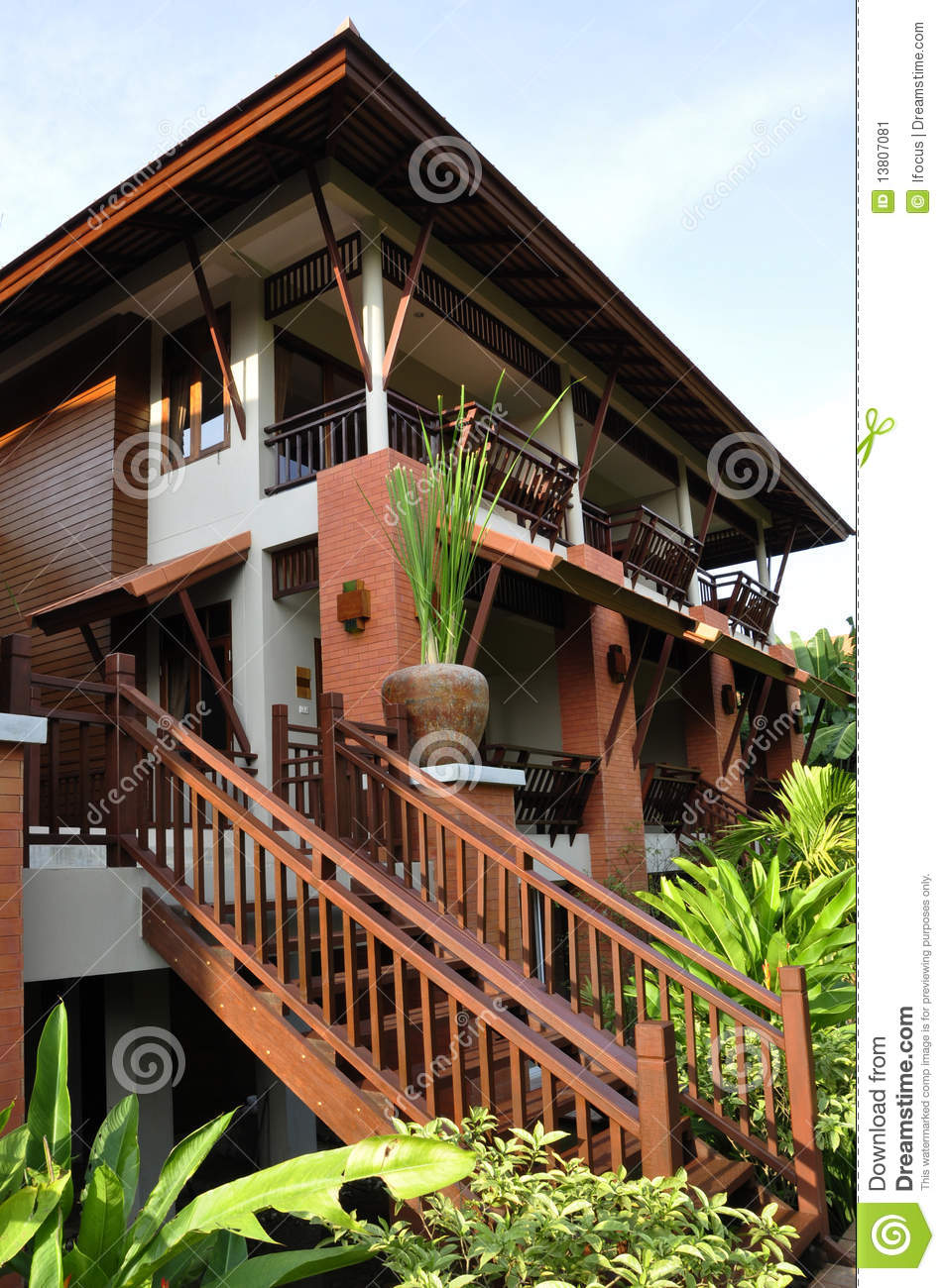 Modern thai house amongst vegetation stock image image for Thai modern house style