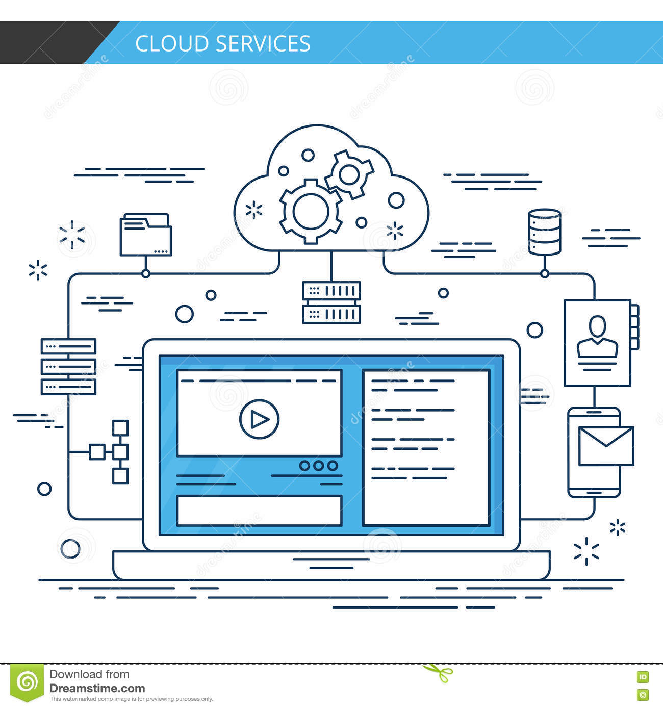 Modern thin line design cloud services. Premium quality vector.