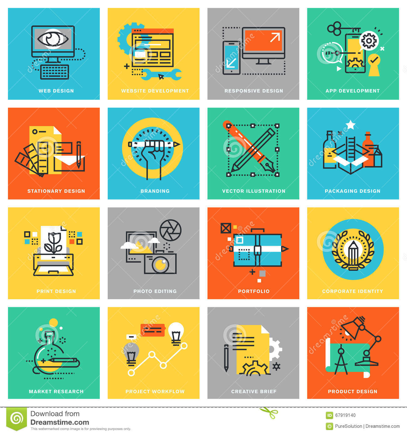 Modern Thin Line Flat Design Icons For Graphic Design