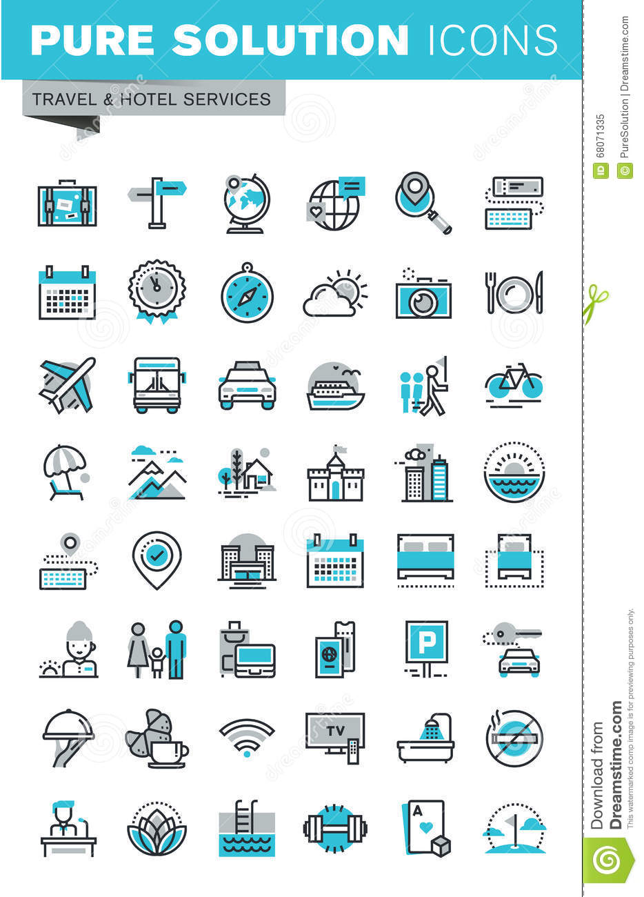 Hotel Services And Facilities Icons Set 2 Blue Cartoon Vector 32058417
