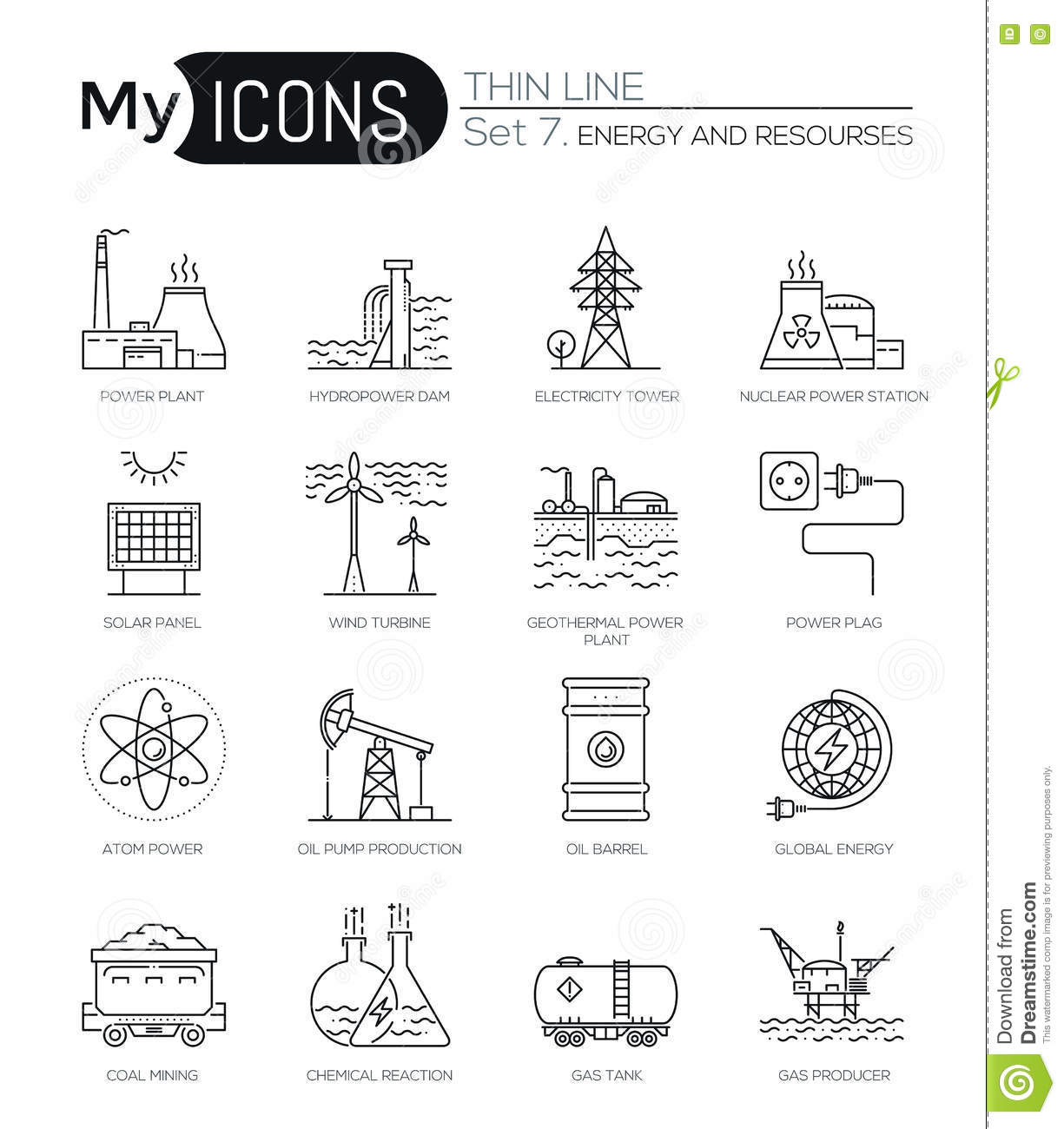 Modern Thin Line Icons Set Of Energy And Resources Stock