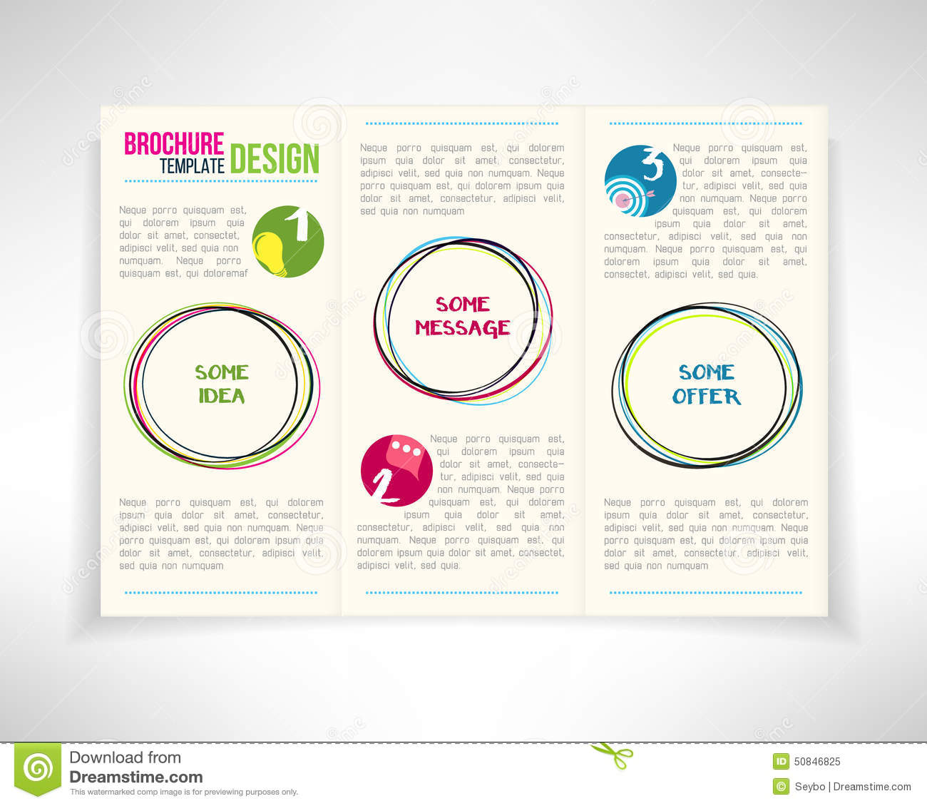 modern three fold brochure leaflet flyer design template
