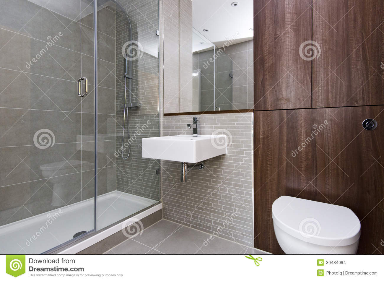 Modern three piece bathroom suite stock images image - Lambris pvc mur salle de bain ...