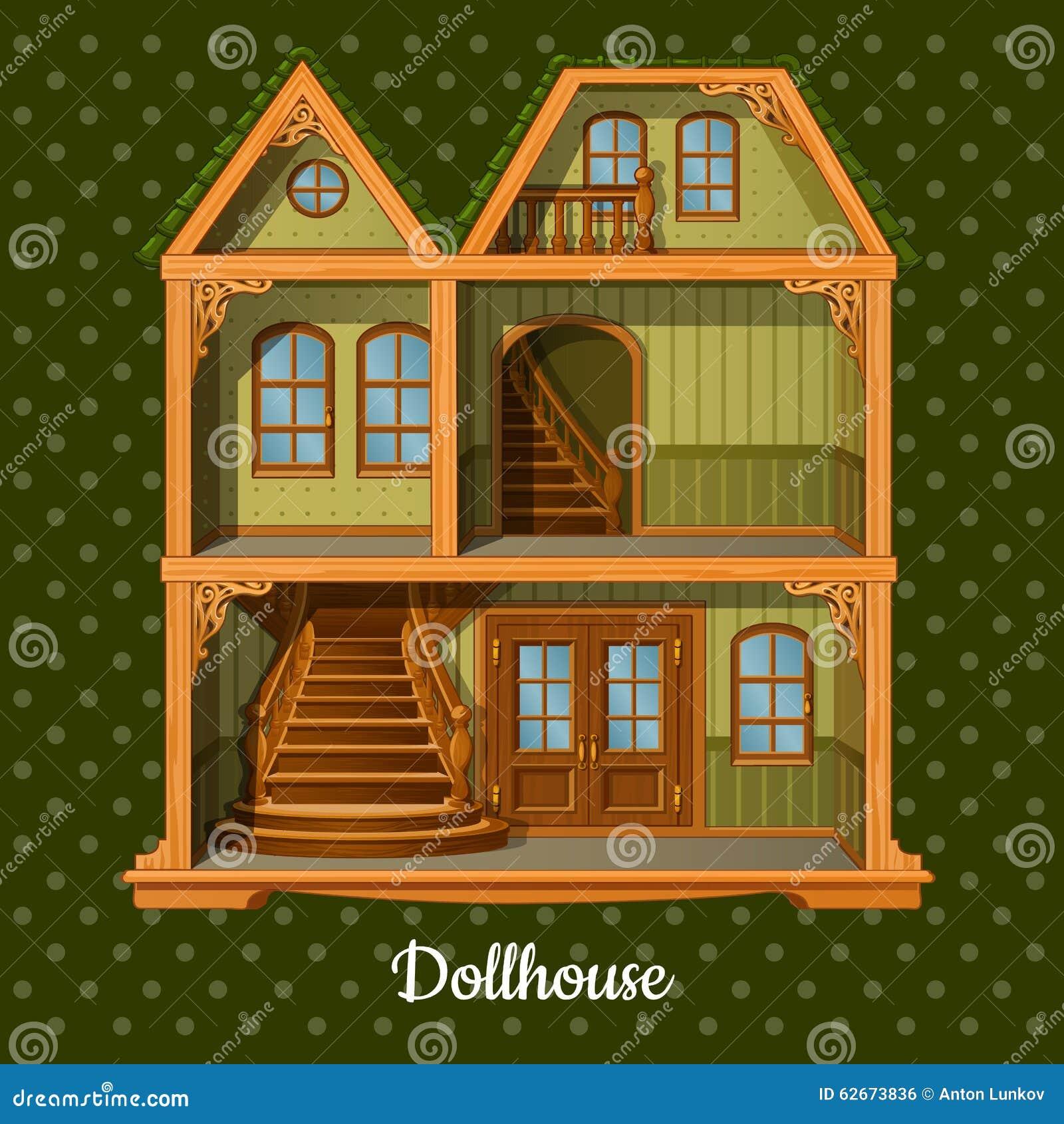 Modern Three Storey Dolls House Stock Vector Illustration Of