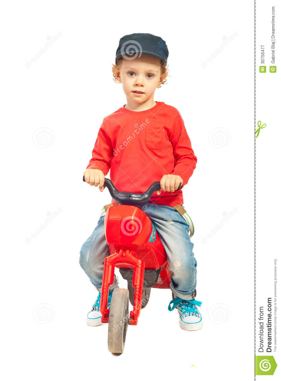Boys Riding Toys For Toddlers : Modern toddler with bike royalty free stock photography