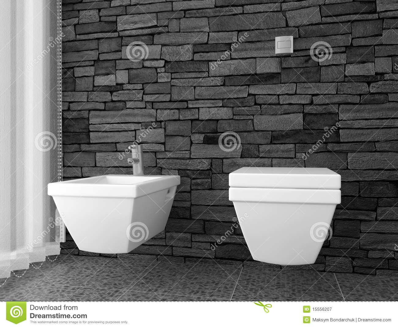 modern toilet with black stone wall stock illustration. Black Bedroom Furniture Sets. Home Design Ideas