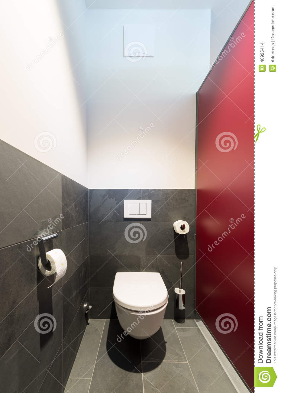 Modern Toilet Bowl With Dark Gray Slate Stock Photo Image 46925414